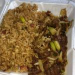 Mongolian beef with pork fried rice.