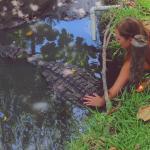 Petting a croc