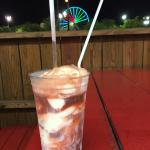 Birch Beer Float with Ferris Wheel in the background