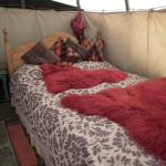 Inside the Tipi - Comfy Double Bed