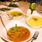 Chicken Madras,Pilau rice,Tarka Dahl and Saag