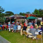 Food was served inside and outdoors. Perfect setting for a summer evening party