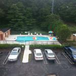A view of the swimming pool from the room