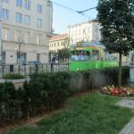 Poznan tram in front of the hotel entrance