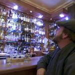 my husband admiring the whisky selection