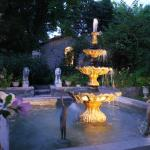 backyard fountain at night