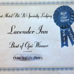 Voted best motel, B&B, Specialty Lodging,