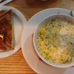 Oyster stew and grilled cheese sandwich