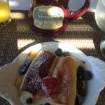this day's breakfast, cheese blintzes...Thank You, Michelle...also fabulous coffee and I like my