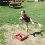 playing horse shoes is a laugh