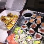 Combination roll platter and crab Rangoons