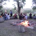 Enjoying the campfire the last night.  Cowboy poetry!