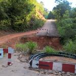 The collapsed road