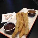 Churros and chocolate dipping sauce share platter!