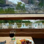 Looking out from the restaurant.