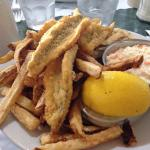 Hamburger and fries Perch and chips dinner and salad Chicken fingers