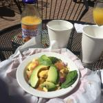 Spinach breakfast bowl and Nantucket Nectar OJ