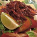 Yummy steak strip tostada salad bowl.