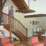 Stairs to guest rooms and dining room
