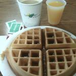 Complimentary breakfast - fresh waffles, orange juice and coffee.