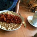Three bean chilli with brown rice.
