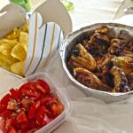 Spicy Grilled Chicken, home made Potato Chips and Tomato Salad