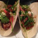 2 of my 3 pork belly tacos (I already ate one!)