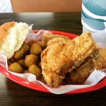 Awesome combo of fried chicken and okra