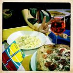 Delicious pizza caprese & tagliatelle porcini.