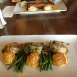 pork medaliions with succulent duchess potatoes and green beans