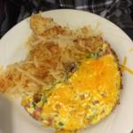 Omelettes pancakes and hash browns