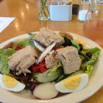 Salad niçoise and a glass of rosé