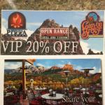 20% Coupons handed out freely by hotels & store clerks. Useable at 3 restaurants in Sedona.
