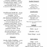 A copy of our menu, we serve bar meals daily from 12 noon untill 7pm and breakfast from 11am unt