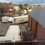 View from window at 6am - delivery lorries!