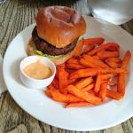 6oz steak burger with sweet potato fries.