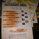 One of the two menus (not the set menu - bone appetit...!)