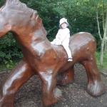 Amy on a wooden Suffolk Punch