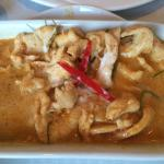 Paneng Red Curry with ground peanut (chicken was my meat of choice and I opted for Jasmine rice)