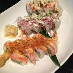 A delightful shared meal of sushi rolls at Kawakubo Restaurant, Vernon, BC
