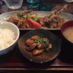 Maquereau, riz, ailes de poulet et soupe miso