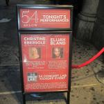 Attraction sign in front of 54 Below in NYC!
