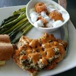 Grilled stuffed chicken with asparagus and yams