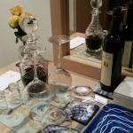 Port and wine in room