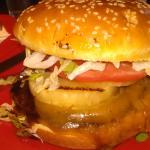 California chicken burger before cutting