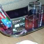 Very thoughtful - condoms in the tray.  Lucky there weren't young kids to explain to.