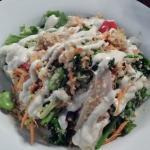 Chicken salad, quinoa, broccolini, cumin yoghurt