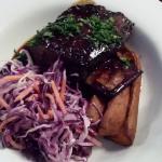 Braised bbq beef short rib, roasted sweet potato wedges, house slaw