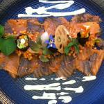 Saumon mariné à la verveine citronné - maki de légumes