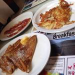 French toast-half order! Hash browns and bacon!
